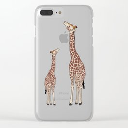 Cute Mama and Baby Giraffe Zoo Safari Design Clear iPhone Case