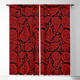 Paisley (Red & Black Pattern) Blackout Curtain