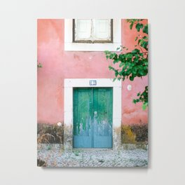 Colorful door in Lisbon Portugal | Fine art travel photography print Metal Print
