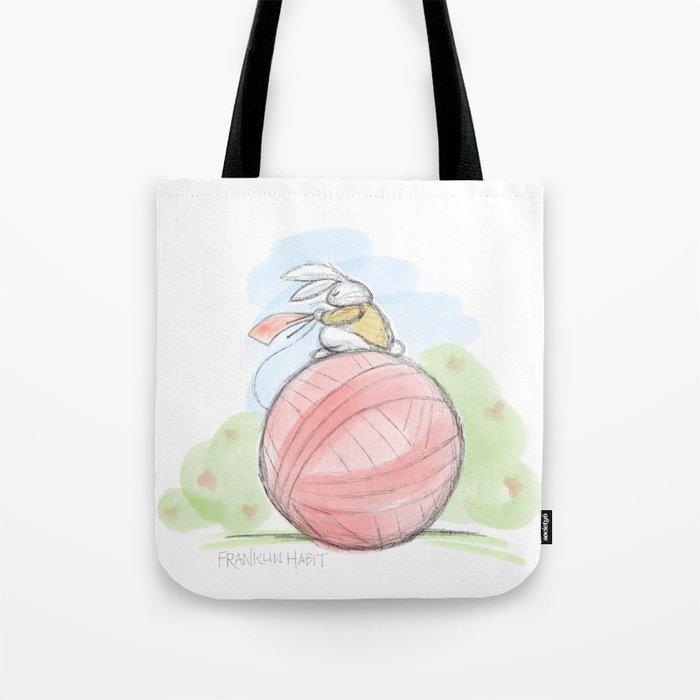 Bunny on a Ball Tote Bag