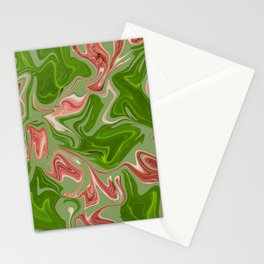Liquid Marble Graphic pattern green red Stationery Cards