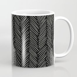 Herringbone Cream on Black Coffee Mug