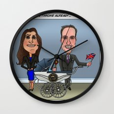 William, Kate & Baby Wall Clock