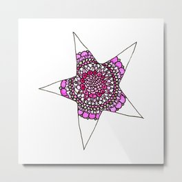 Pink Superstar Mandala Star Metal Print