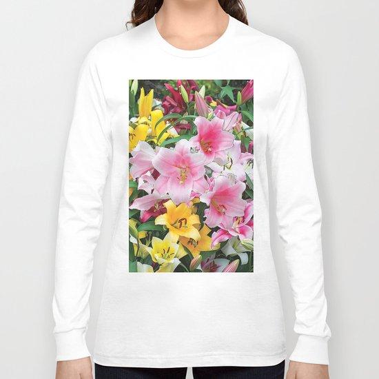 SPRING LILIES FLOWER GARDEN MEDLY Long Sleeve T-shirt