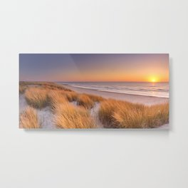 Dunes and beach at sunset on Texel island, The Netherlands Metal Print