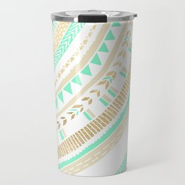 Mint + Gold Tribal Travel Mug