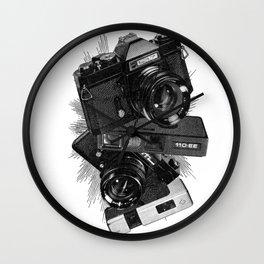 Vintage Camera Stack Wall Clock