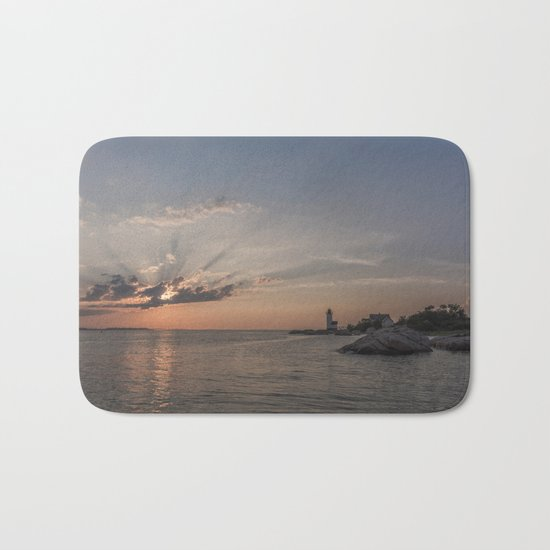 Sunbeams at Annisquam lighthouse Bath Mat