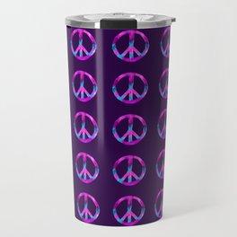 Purple Turquoise Watercolor Tie Dye Peace Sign on Purple Travel Mug