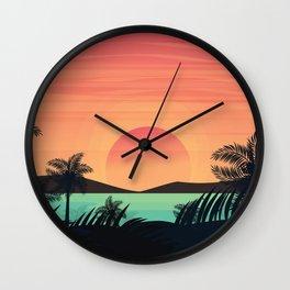 Tropical Beach Dawn illustration Wall Clock