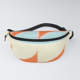 Circle Quarters Blue and White with Red Background Fanny Pack