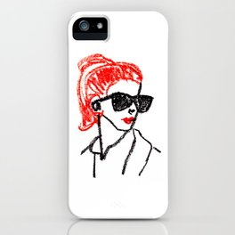 sunglasses and red hair iPhone Case