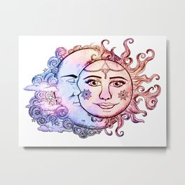 colored Sun and Moon Metal Print