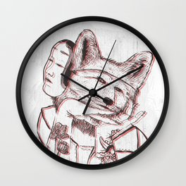 Kitsune Portrait Wall Clock