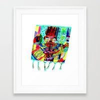 rug Framed Art Prints featuring rug by liisa kruusmägi