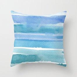 Soft Blue & White Ocean Waves _Hand Painted modern watercolour  Throw Pillow