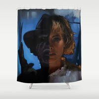 freddy krueger Shower Curtains featuring Freddy Krueger - Never Sleep Again by Saint Genesis
