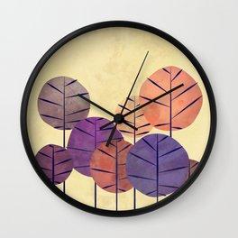 SALMON AUTUMN TREES Wall Clock