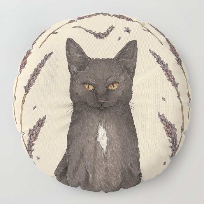 The Cat and Lavender Floor Pillow