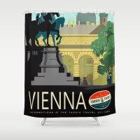 vienna Shower Curtains featuring Visit Vienna by Duke Dastardly
