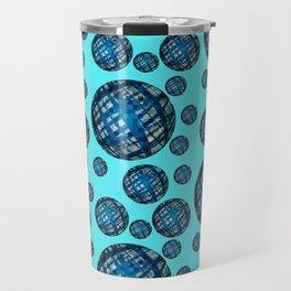 Floating Blue Sphere or Ovoid Pattern 01 Travel Mug