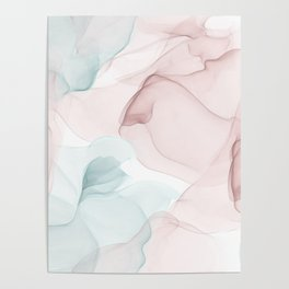 Blush and Blue Flowing Abstract Painting Poster