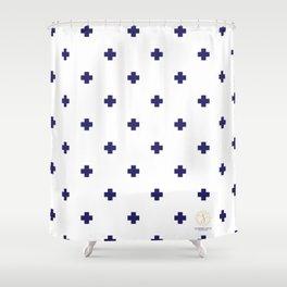 Modern Swiss - Bold Style Cross Plus Sign Shower Curtain