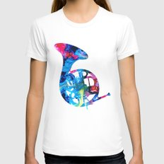 Colorful French Horn 2 - Cool Colors Abstract Art Sharon Cummings MEDIUM White Womens Fitted Tee