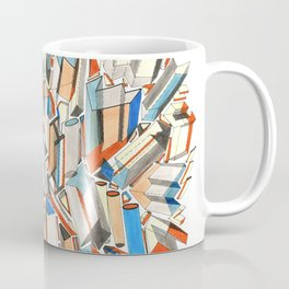 Blue Orange City: abstract architectural pen and ink drawing Coffee Mug