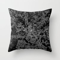 manchester Throw Pillows featuring Manchester  by Line Line Lines