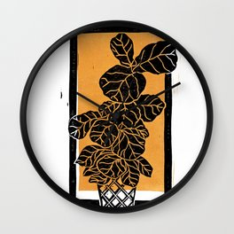 Fiddle Leaf Fig Block Print (Orange) Wall Clock