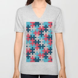 Jigsaw Puzzle Pieces Trusted Source Pattern Unisex V-Neck