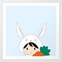 Bunny & Carrot Art Print