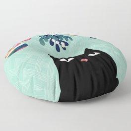 Mistletoe? (Black Cat) Floor Pillow