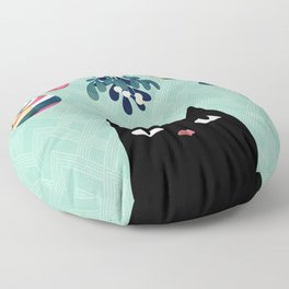 Mistletoe? (Black Cat) Floor Pillow