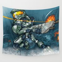 halo Wall Tapestries featuring HALO / MASTER Ch by alexviveros.net