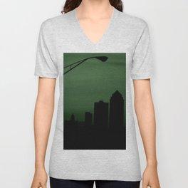 Downtown Des Moines in Green. Unisex V-Neck