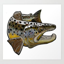 Killer Brown trout Art Print