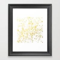 Splat White Gold Framed Art Print