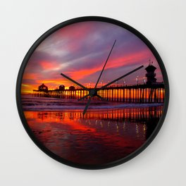 Sunset At The Pier * Huntington Beach, California Wall Clock