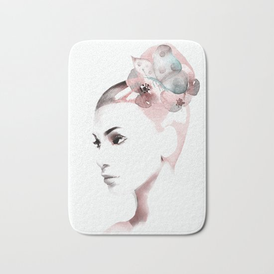 Woman with butterfly Bath Mat