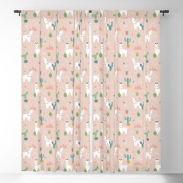 Summer Llamas on Pink Blackout Curtain