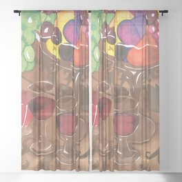 Fruit and Wine Stil life Sheer Curtain