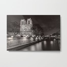 Notre Dame Cathedral, Paris, France on the River Seine black and white photograph / art photography Metal Print