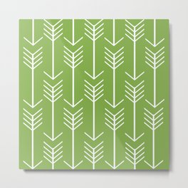 White Arrows on Green Metal Print
