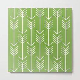 White Arrows on Green Metal Print
