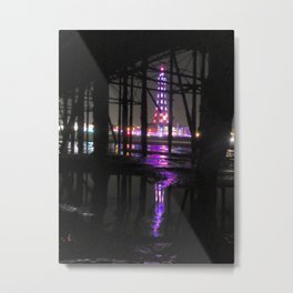 Reflection In Water of Blackpool Tower At Night  Metal Print