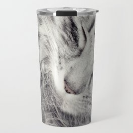 Mother cat and baby kitten in embrace Travel Mug
