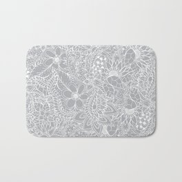 Modern trendy white floral lace hand drawn pattern on harbor mist grey Bath Mat